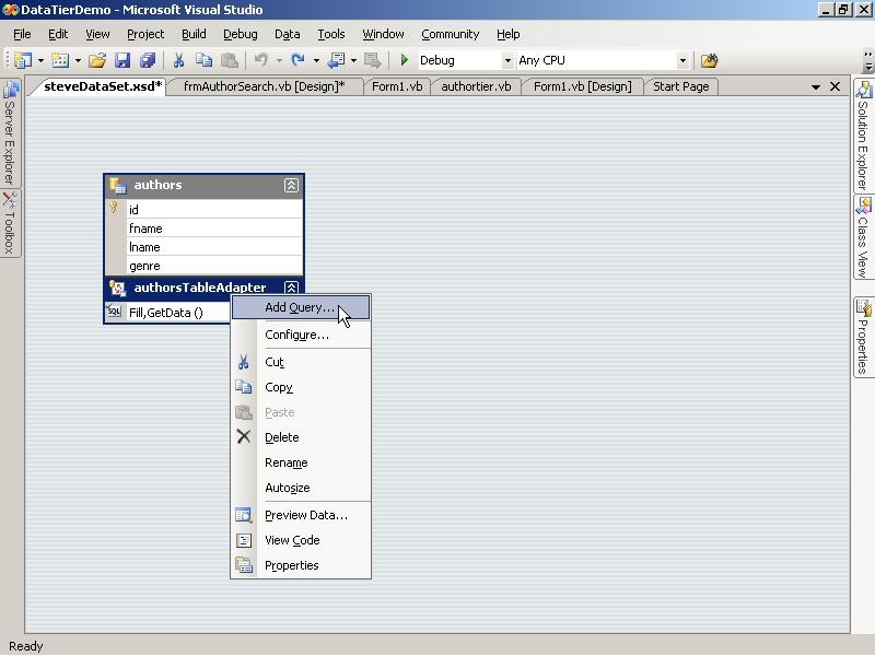 Data Tier Application Development with VB NET Part 2 - Using